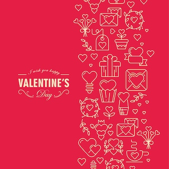 Original valentines day card with chain consisting of many elements and text illustration