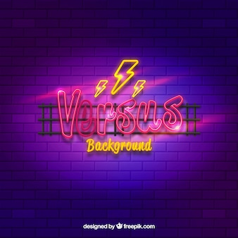 Original versus background with neon light