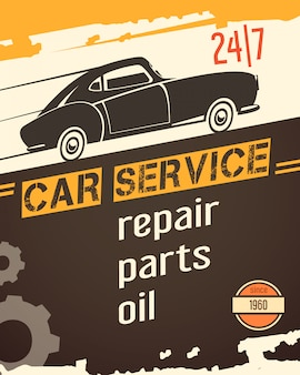 Original vintage auto service garage banner for sale with retro car black silhouette abstract vector illustration