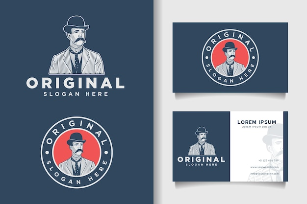 Original vintage engraving logo and business card template
