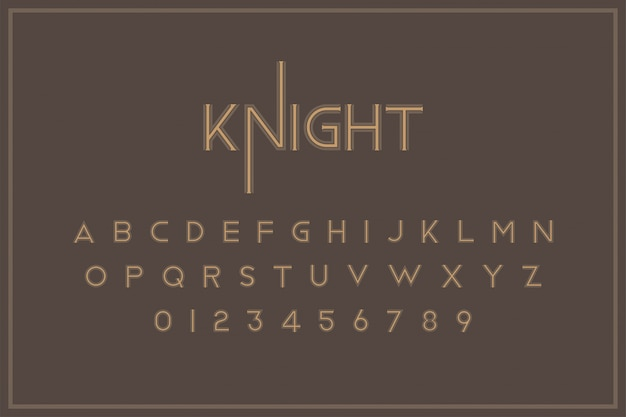 Original vintage royal font a set of letters and numbers in retro style