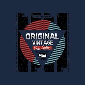 Original vintage striped graphic typography t shirt design illustration premium vector