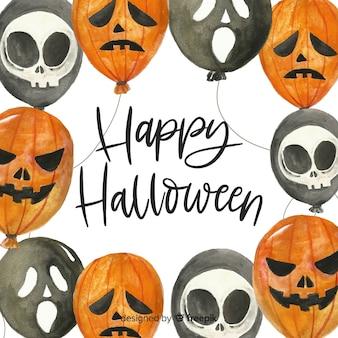 Original watercolor halloween background