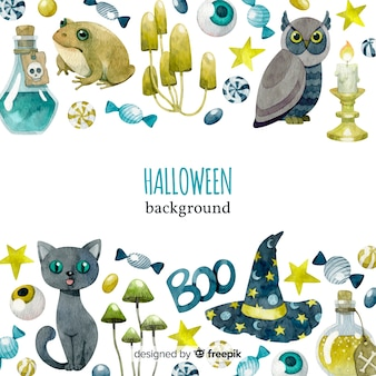 Original watercolor halloween background