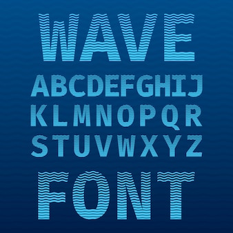 Original wave font poster with alphabet on the blue as a sea illustration