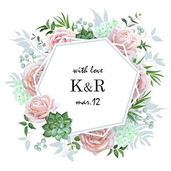 バラと多肉植物のオリジナルの結婚式の招待状