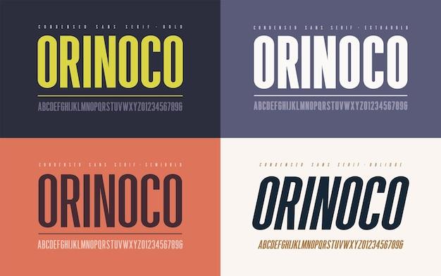 Ориноко: сжатый полужирный, полужирный, экстра жирный и наклонный векторный шрифт с засечками, алфавит, гарнитура, прописные буквы и цифры.