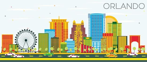 Горизонт орландо с цветными зданиями и голубым небом. векторные иллюстрации. деловые поездки и концепция туризма с современной архитектурой. изображение для презентационного баннера и веб-сайта.