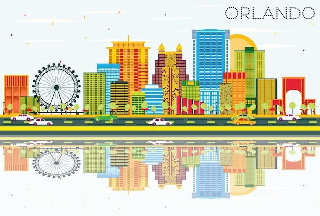 Горизонт орландо с цветными зданиями, голубым небом и отражениями. векторные иллюстрации. деловые поездки и концепция туризма с современной архитектурой. изображение для презентационного баннера и веб-сайта.
