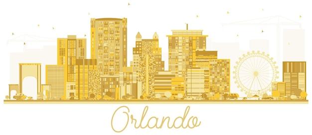 Орландо сша город горизонт золотой силуэт. векторная иллюстрация. городской пейзаж с достопримечательностями.
