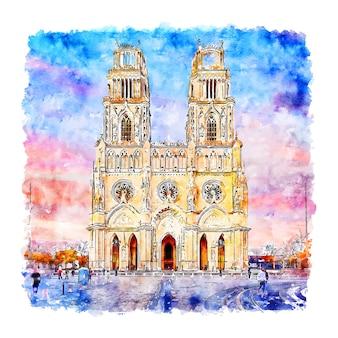 オルレアンフランス水彩スケッチ手描きイラスト