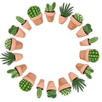 かわいいサボテン漫画スタイルの花輪ornamenrtデザイン。ヒッジ鉢植え多肉植物のセット。植物の居心地の良いスカンジナビアスタイルのコレクション