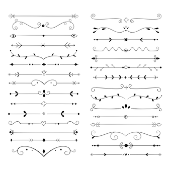 Ornament dividers. text line vintage  element, wedding decoration separators. retro drawn book ornamental divider  set