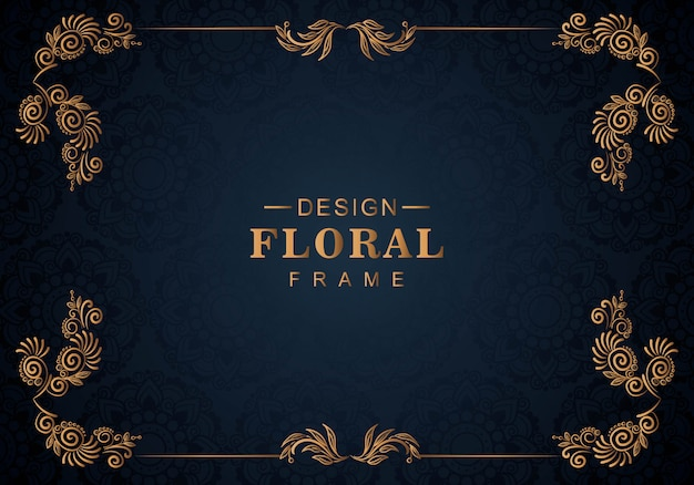 Ornament floral frame blue