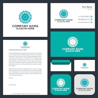 Ornament flowers logo and business card premium