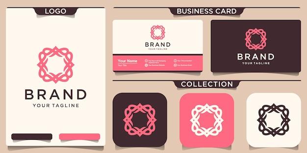 Шаблон логотипа рамки орнамента и дизайн визитной карточки