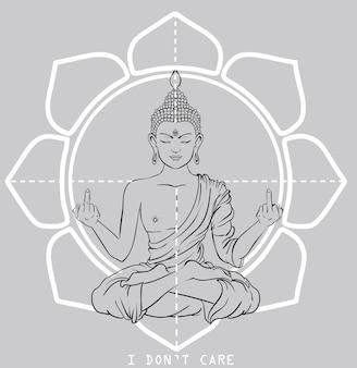 Ornament funny card with buddha. geometric element hand drawn.