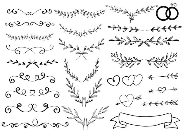 Ornamento disegnato a mano per carta di invito a nozze