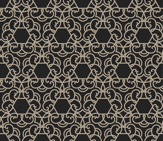 Ornament and hexagon seamless pattern