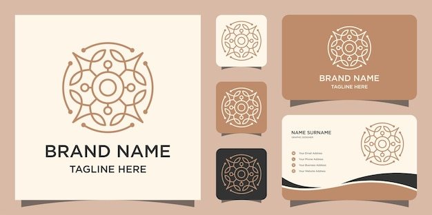 Ornament leaf with line art style logo and business cards