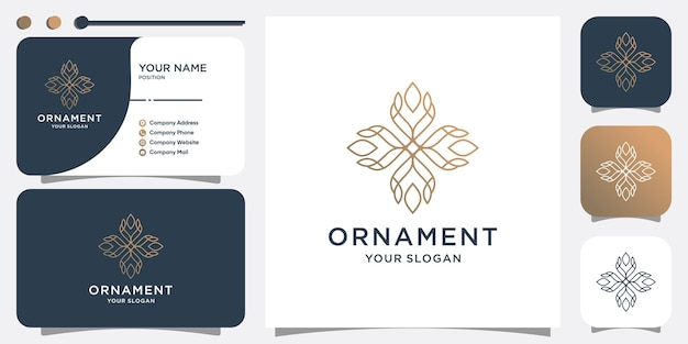 Орнамент логотип абстрактный с творческой линией premium векторы