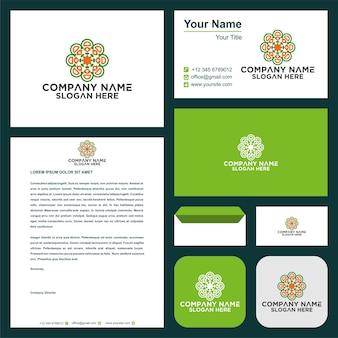 Орнамент логотип и визитка премиум
