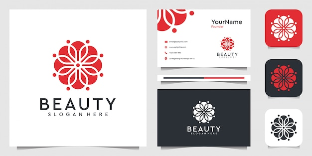 有機的なスタイルで飾りのロゴデザイン。装飾、スパ、美容、ヨガ、花、葉、ブランド、名刺のスーツ