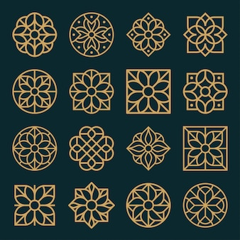 Ornament logo and icon design set.