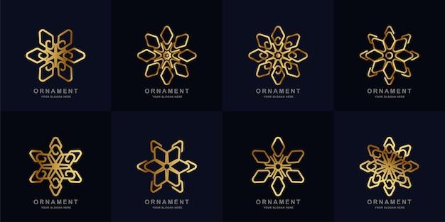 장식 로고 세트 컬렉션. 미니멀리스트, 추상, 크리에이티브, 단순, 디지털, 럭셔리, 우아하고 현대적인 로고 템플릿 디자인.