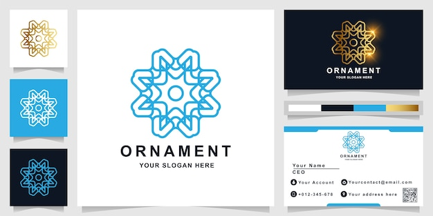 Ornament logo template with business card design.