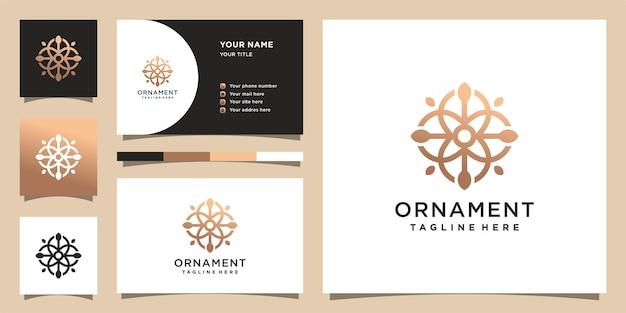創造的なコンセプトの飾りロゴテンプレート。ロゴと名刺のデザイン。