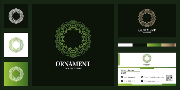 Ornament or mandala luxury logo template design with business card.