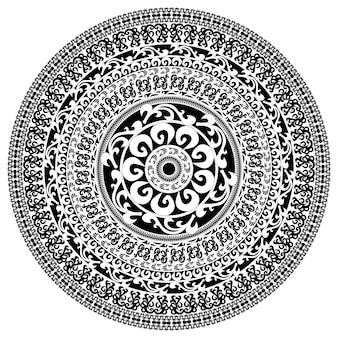 만다라와 장식 단색 카드입니다. 라운드 장식 벡터 모양 흰색 절연입니다. 흑백 색상의 벡터 일러스트 레이 션.