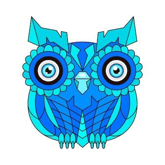 Орнамент сова вектор. красивая иллюстрация сова для дизайна, печати одежды, наклеек, татуировок