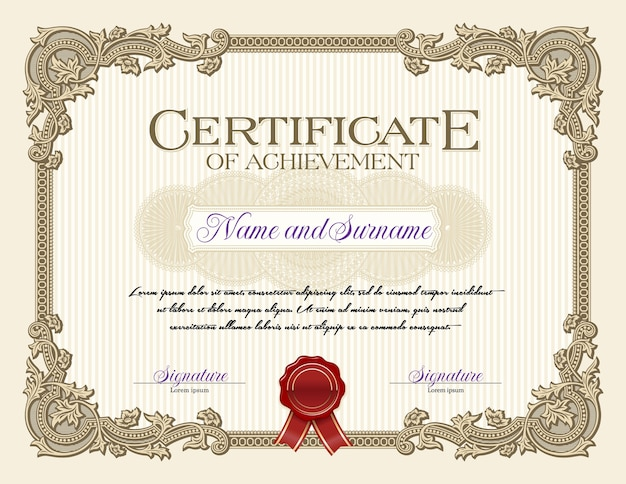 Ornament vintage frame certificate of achievement