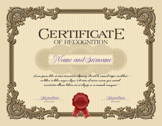 Орнамент винтажная рамка свидетельство о признании