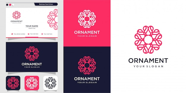 Ornament with flower inside logo concept and business card design template, luxury, flower, beauty, ornament, icon