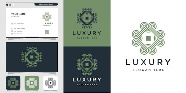 라인 아트 로고와 명함 디자인 서식 파일 장식