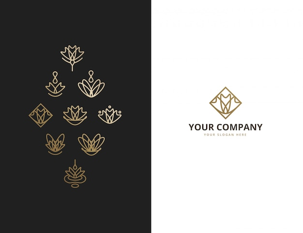 Ornamental abstract floral monoline logo collection