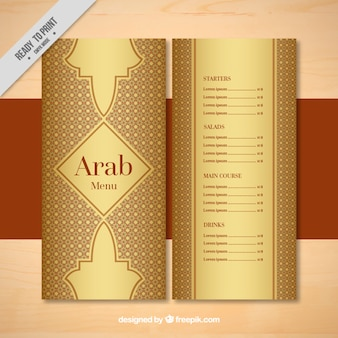 Ornamental arab menu template