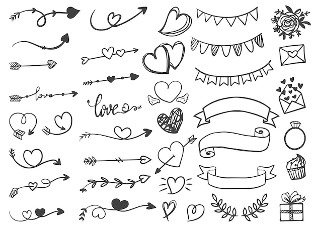 装飾用の矢印リボンバレンタインと結婚式の手描きの線画