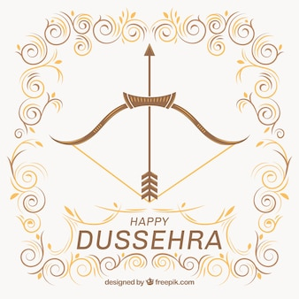 Ornamental background of dussehra with bow and arrow