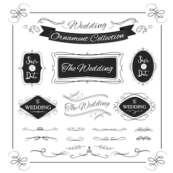 ビンテージデザインの装飾的なバナー結婚式書道フレームバナー