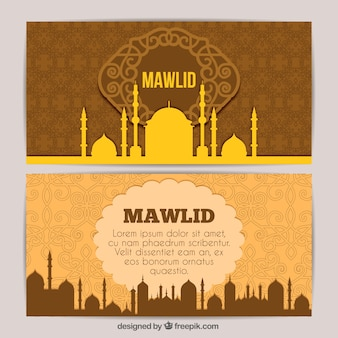 Ornamental banners of mosque mawlid