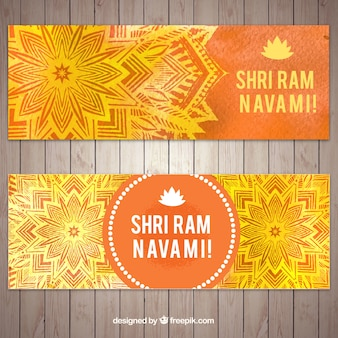 Ornamental banners in orange and yellow tones for ram navami