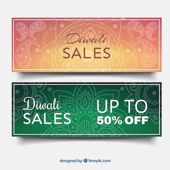 Ornamental banners of sales diwali