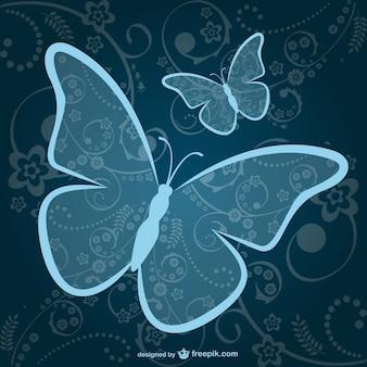 장식용 블루 나비 배경
