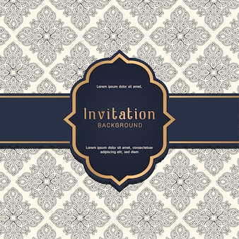 Ornamental blue pattern with wedding badge