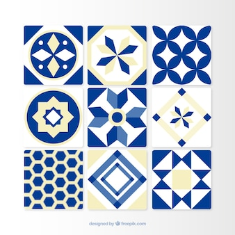 Ornamental blue tiles