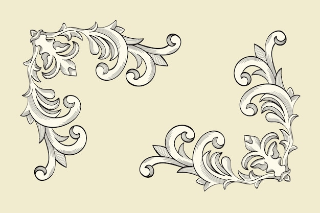 Ornamental border in baroque style